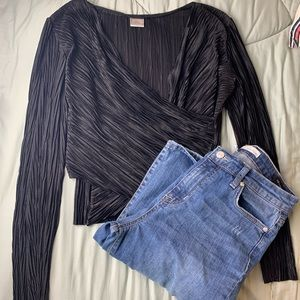 Zara W/B collection wrap long sleeve crop top L